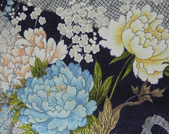 204: Japanese vintage kimono/silk fabric/flower/light blue/navy/cream/pink/yellow/gold/peony/ume/handmade/material