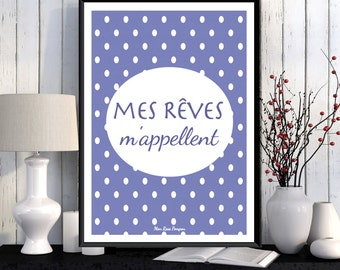 Inspirational french quote poster, Positive art, Positive quote, Scandinavian poster, Wall art decor, Illustration print, Poster download