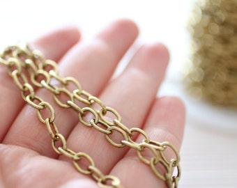 8x5mm brass antique gold cable chain, brass chain, antique chain, gold chain, cable chain, brass necklace chain, foot chain, jewelry chain