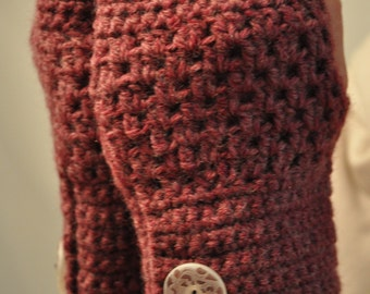 Purple Fingerless Gloves with Ceramic Buttons 15215