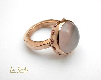 Mariane, gilded bronze ring Quartz pink small copper weight, inspired middle age
