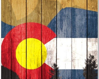 Colorado Flag Mountains LAMINATED Cornhole Wrap Bag Toss Decal Baggo Skin Sticker Wraps