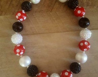 Minnie Inspired Chunky Necklace, First Birthday, Bubblegum Bead Necklace, Chunky Beads, Baby Bubblegum Necklace, Mickey Mouse Necklace