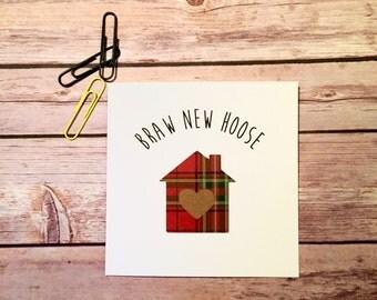 Scottish Card, Braw New Hoose, Moving Home Card, Handmade Housewarming Card, Tartan Greeting Card, 1st Home Card, Moving Home, New Home)