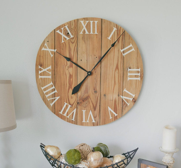 handmade wooden wall clock large wall by woodlanecreationsllc