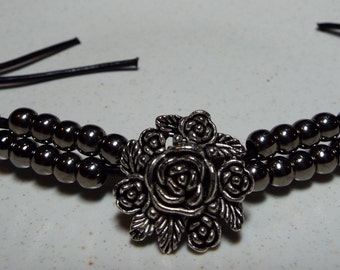 Leather ,Button and Bead Bracelet