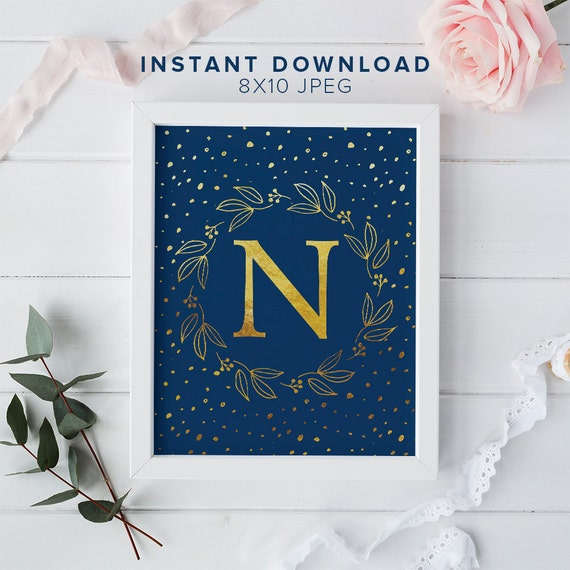 "Gold Monogram Letter ""N"" Printable Wall Art - 8x10"" - ""N"" Name Art Print- Gold Wreath - Nursery Print - Typographic Monogram - Dorm Decor"