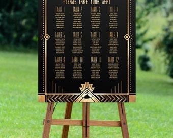 wedding seating chart, printable seating chart, wedding seating, seating plan, wedding sign, art deco wedding, gatsby wedding, digital