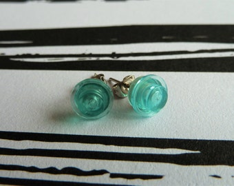 Turquoise / aqua translucent dot Lego® earrings - hypoallergenic - quirky kitsch fun gift
