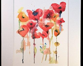 "Watercolor Poppy Bunch 8"" x 10"" Print, Watercolor Flower Painting, Watercolor Flowers, Flower Wall Art, Modern Wall Art"