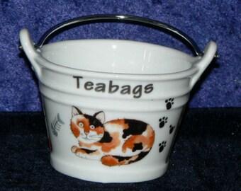 Cats teabag tidy, porcelain bucket shaped teabag tidy Cats design on Bucket teabag tidy