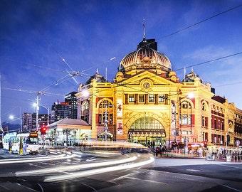 Melbourne photography fine art photograph city wallart urban decor Flinders Street Station, rushhour FREE SHIPPING within AUSTRALIA