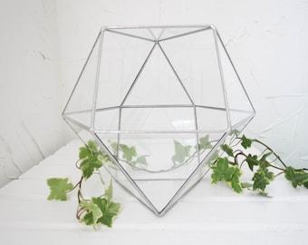 Geometric Glass Terrarium, Terrarium, Geometric Glass ,Cuboctohedron, Planter, Crystal Garden, Amethyst ,Quartz