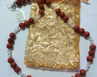 Red Coral and Cat's Eye Necklace