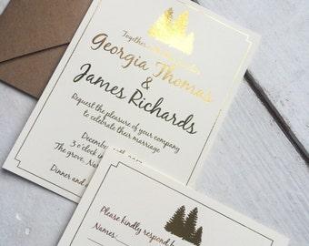 Rustic winter wedding invitation set, gold foil winter wedding invitation set
