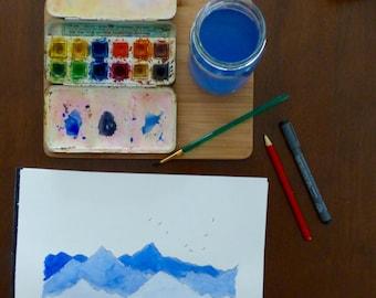 Mountains watercolour, blue