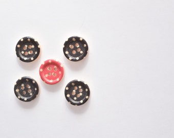 Black Polka Dot Buton - Pink Button - Small Button - Wooden Buttons - Mixed Buttons - Craft Buttons - 4 Hole Buttons Sewing Notion 15 MM