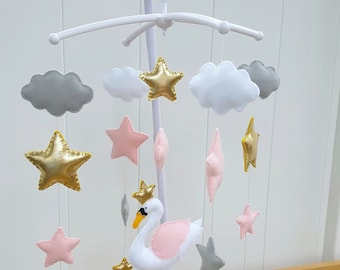 Magical Swan Baby mobile,Swan crib mobile,Pink grey and white mobile,Baby girl mobile,Stars nursery decor,neutral nursery decor,Swan decor