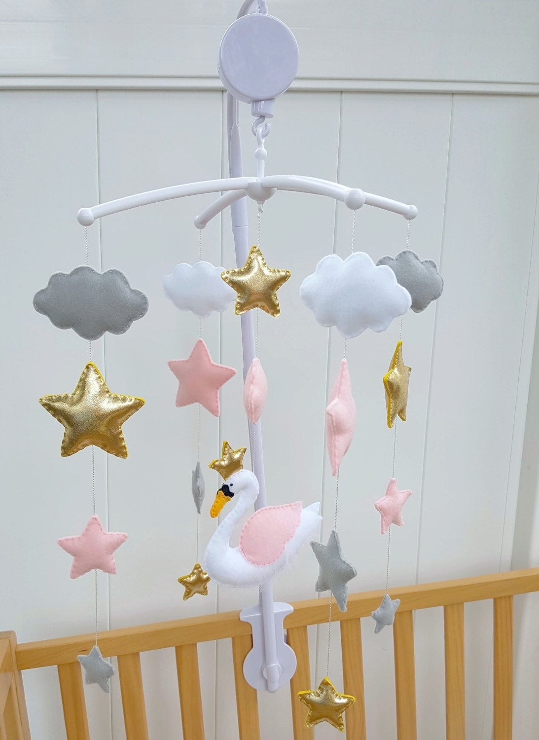 Magical Swan Baby Mobileswan Crib Mobilepink Grey And White