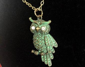 Vintage Owl Necklace / Verdigris Owl Necklace / Crystal Owl Necklace