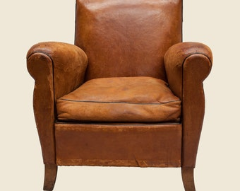 Vintage Tan Leather Club Armchair