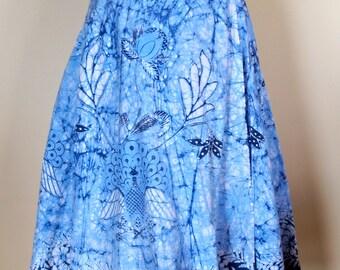 1970s 1980s vintage Womens Batik Wrap Skirt Festival Boho Hippy style