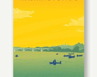 Georgetown from the Potomac River - Washington DC - postcard print illustration Key bridge yellow green travel poster affiche vintage summer