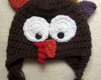 Crochet Turkey Hat, crochet hats for kids, Thanksgiving hat, fall hat, crochet hats for babies, baby first Thanksgiving outfit, Thanksgiving