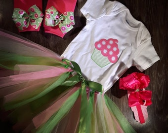 Cupcake birthday tutu set
