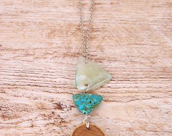 Necklace slice of wood /turquoise