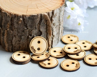Personalized wood buttons, engraved wood buttons, handmade shop supplies, wooden buttons, custom clothing supplies, READY TO SHIP
