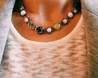 Multicolored Bead Necklace, Black Accent Statement Necklace