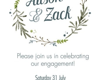 earthy wreath engagement party invitation