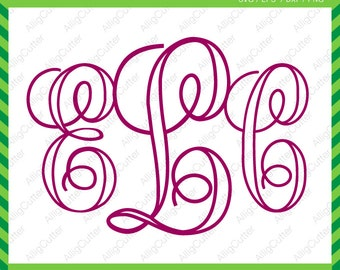 Script Vine Outline Alphabet Monogram SVG DXF PNG eps font Cut Files for Cricut Design, Silhouette studio, Sure Cuts A Lot, Makes the Cut
