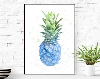 Pineapple Wall Art, Navy blue decor, Pineapple Decor, Wall Art, Pineapple Art Print, Pineapple Wall Art, Pineapple Poster, Kitchen Wall Art