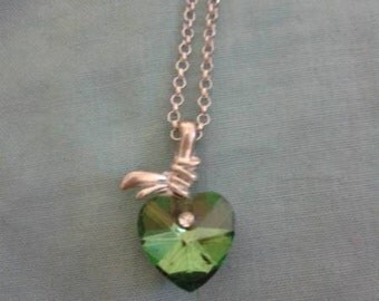 Green Love Heart Necklaces - Gift Boxed