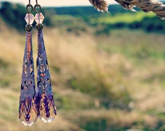 Victorian Earrings - Crystal Earrings - Teardrop Earrings - Dangle Drop Earrings - Long Earrings - Vintage Style Pink Earrings -  Purple.