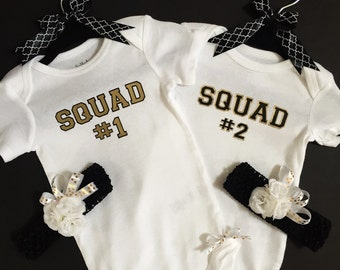 Adorable Squad #1 and #2 twin infant onsie  set with matching headbands