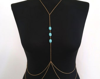 Turquoise Stone Gold Body Chain