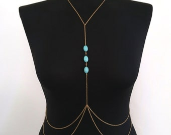 Turquoise Stone (Gold or Silver) Body Chain, Body Harness, Body Jewelry, Necklace Chain