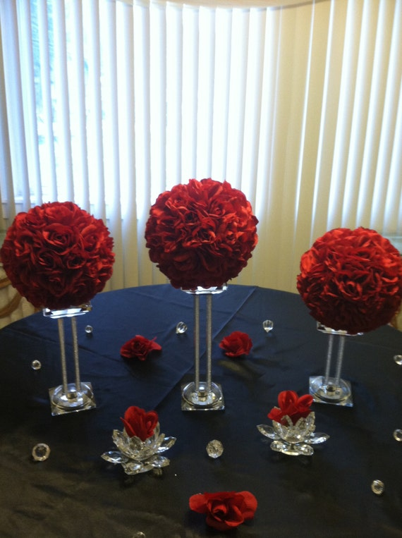 Four kissing balls pomander ball flower rose