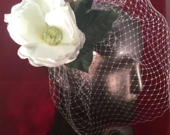 White silk magnolia flower birdcage veil, southern charm and bridal headpiece