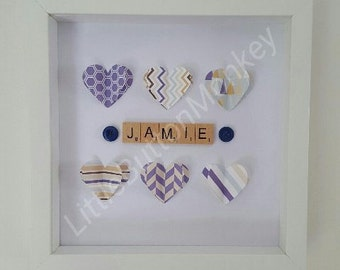 Personalised 3D hearts scrabble button art