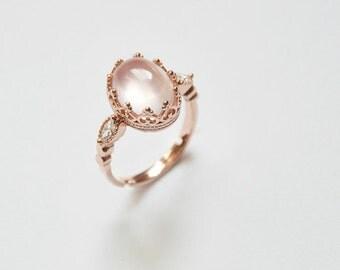 Rose quartz ring rose gold ring pink quartz ring rose quartz rose crystal adjustable ring sterling silver rose gold plated bridesmaid ring