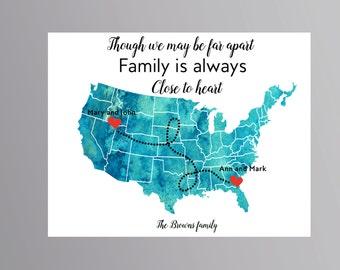 Family Map Print Family Gift Personalized Map Housewarming Gift Long Distance Family Long Distance Gift Long
