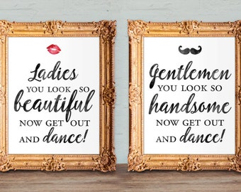 Wedding bathroom signs - womens and mens restroom - his and hers bathroom signs -  printable 8x10 and 5x7 (set of two)