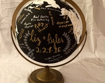 Custom Hand-Painted Guest Book Globe