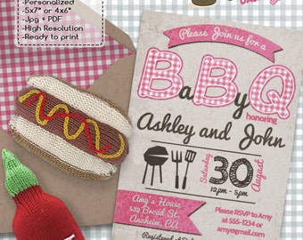 Barbecue BBQ Girl Baby Shower invitations Pink BBQ DIY printable invite babyque