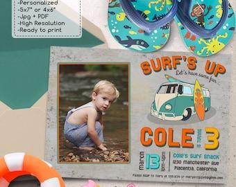 Vintage Surf Birthday Party Photo invitations DIY Surf's Up Summer Birthday Party printable invite