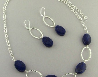 "Lapis Wavy Ovals Semi Precious Stones  & Sterling Silver Hammered Ovals 18 inch + 5""  Extender Necklace on SS Chain Unique Handcrafted 2448"
